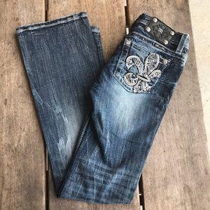 Miss Me Jeans Fleur de Lis Pockets Bling Boot Cut